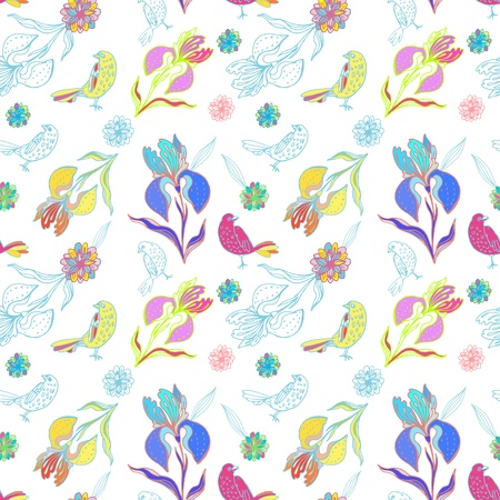 Vintage floral seamless pattern with doodle iris flowers and birds Ilustracja