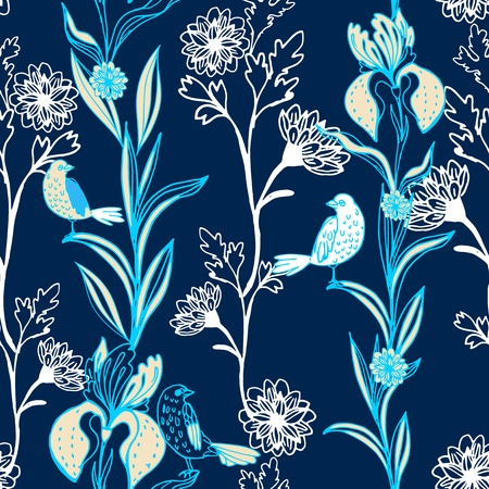 Vintage black floral seamless pattern on dark blue with doodle flowers and birds Vector