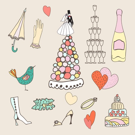 Wedding cute hand drawn doodle icon set, wedding sketchy illustration Vector