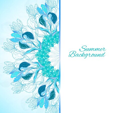 Blue floral ornament mandala background card with doodles iris and vertical place for your text Vector