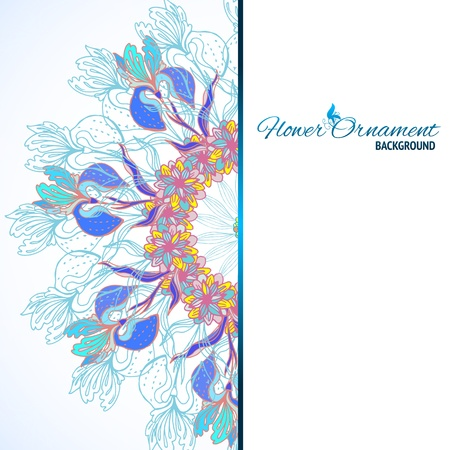 iranian: Blue floral ornament mandala background card with doodles iris