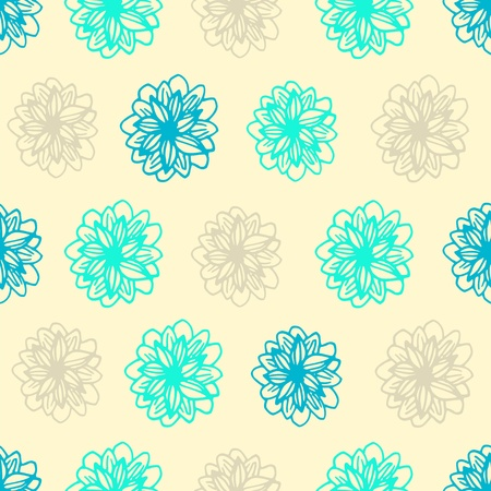 Summer seamless blue background with flower polka dots. Vector illustration Vector
