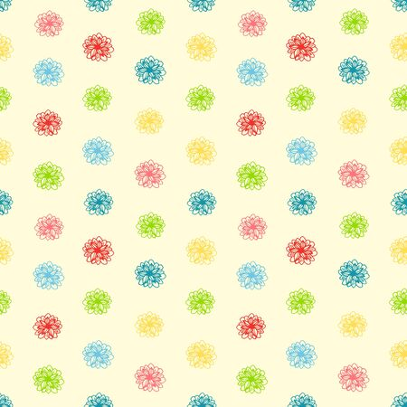 Summer seamless colorful background with flower polka dots. Vector illustration Vector
