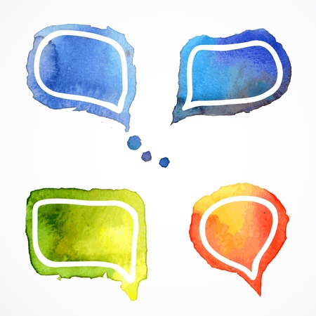 Vector watercolor speech bubbles, aquarelle set 2 Vector