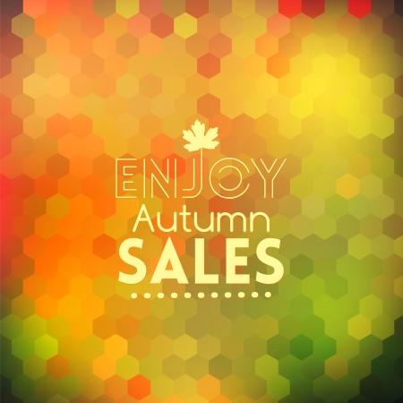 background herfst: Kleurrijke geometrische achtergrond kaart met mapple blad genieten herfst verkoop
