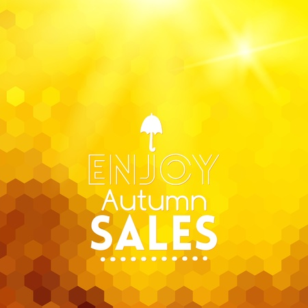 Colorful geometric background card with umbrella enjoy autumn sales Vector