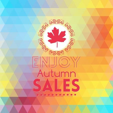 rainbow umbrella: Rainbow geometric background card with mapple leaf enjoy autumn sales
