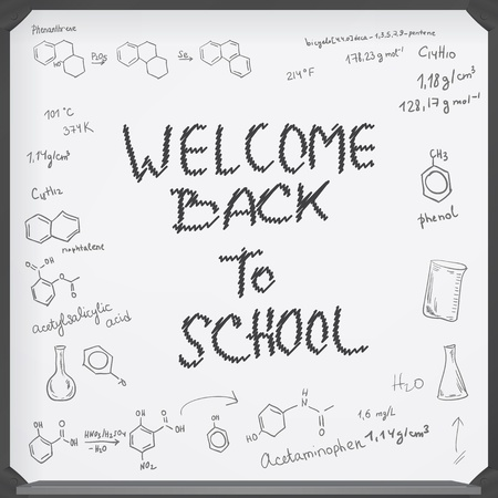 Welcome back to school background. Chemical formulas on black chalkboard Vector