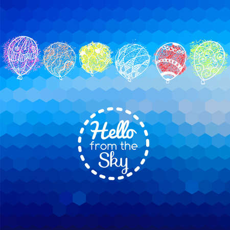 Blue abstract card geometric background with doodle flying balloons. Vector