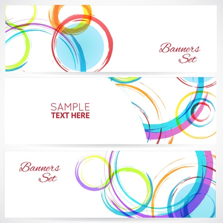 Banners set with abstract colorful grunge circles on white.  Vector