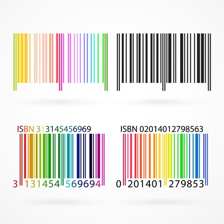identification card: Black and colored barcode with shadows.