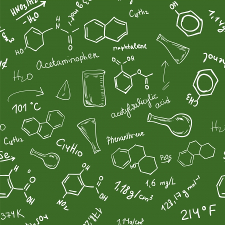 chemistry formula: Welcome back to school seamless background. Chemical formulas on green chalkboard Illustration