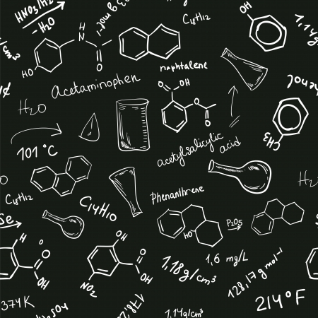 chemical formula: Welcome back to school seamless background. Chemical formulas on black chalkboard
