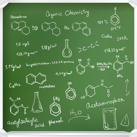 Welcome back to school background. Chemical formulas on green chalkboard Vector