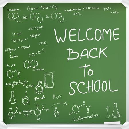 quimica organica: Bienvenido de nuevo a fondo de la escuela. Fórmulas de química en la pizarra verde Vectores