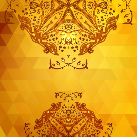 Template for invitation card gold background with triangles, shining particles and doodle ethnic ornaments Vector