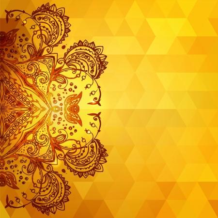 Sjabloon voor uitnodigingskaart gouden achtergrond met driehoeken, glanzende deeltjes en doodle etnische ornamenten Stock Illustratie