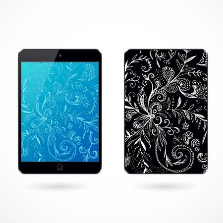 pocket pc: Illustration of decorated black pocket tablet pc on white background