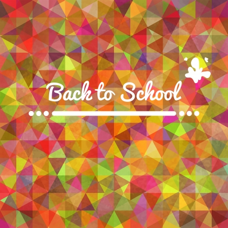 Colorful rainbow background card back to school with triangles for your web design
