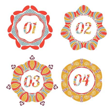 03: Vintage label options 01, 02, 03, 04 with retro design Illustration