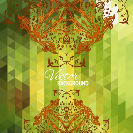 Green triangular background with doodle floral ornament for your web design Stock Vector - 21760209