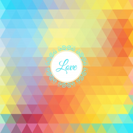 Colorful love rainbow background with triangles for your web design