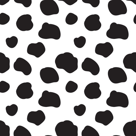 dairy cattle: Seamless vector pattern with black and white spotted cow texture