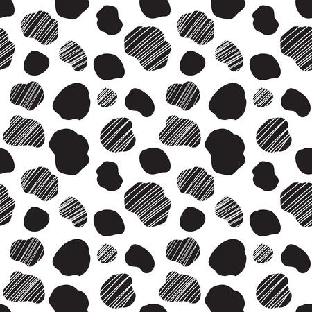 黒と白の斑点のある牛の質感とシームレスなベクター パターン