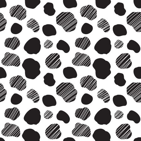 dalmatian: Seamless vector pattern with black and white spotted cow texture