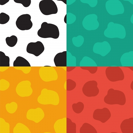cow hide: Set of four seamless vector patterns with spotted cow texture