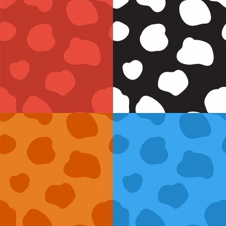 ruminant: Set of four seamless vector patterns with spotted cow texture