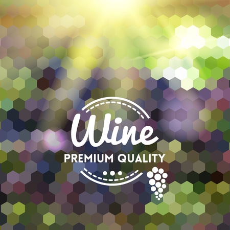 Colorful geometric background card with grape wine premium quality Ilustracja