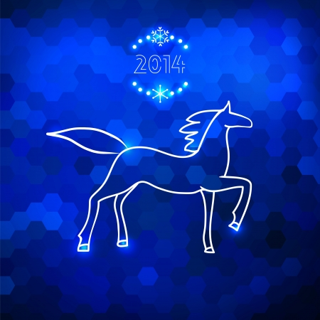 Blue geometric horse silhouette card new 2014 year of horse Vector