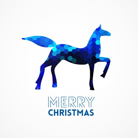 Blue geometric horse silhouette merry christmas 2014 year of horse Vector