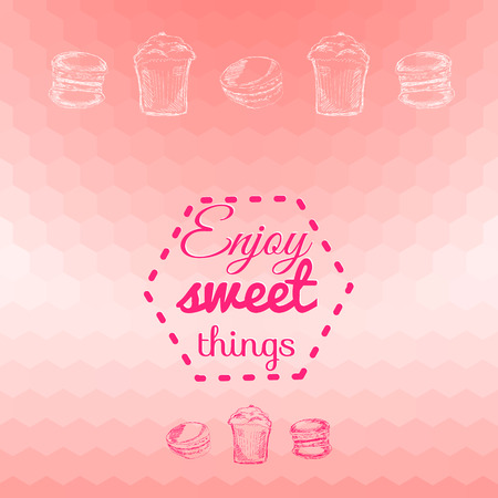 Macarons sweets pink background card. Enjoy sweet things Vector