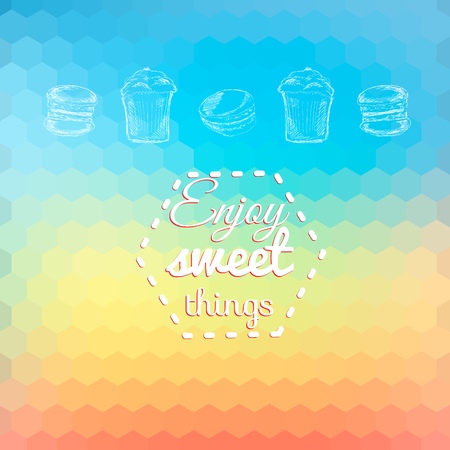 Macarons sweets background card on bright bgeometric background. Enjoy sweet things