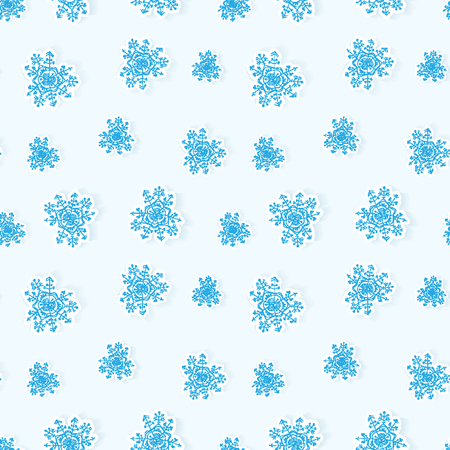 Winter snowflakes seamless background cut paper with shadows Vector