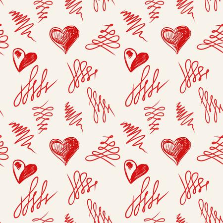 Love hearts sketch hand drawn seamless pattern. Vector illustration Vector