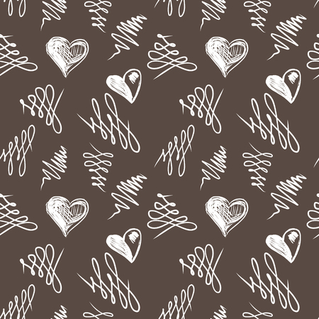 Love hearts sketch hand drawn seamless pattern. Vector illustration Vector