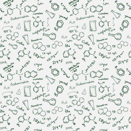 Chemical formulas, chemistry science seamless hand drawn background