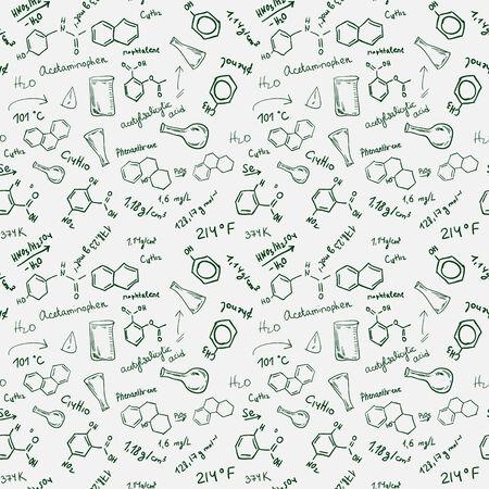 Chemical formulas, chemistry science seamless hand drawn background Фото со стока - 26705001