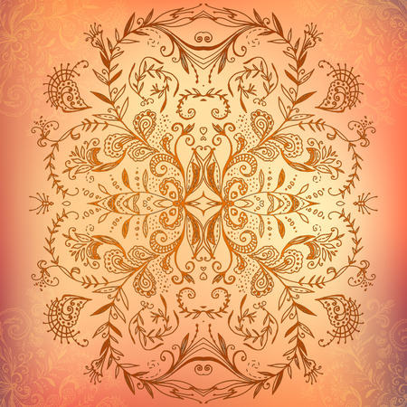 Chocolate lace ornament mandala background card with doodles Vector