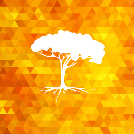 diamond texture: Tree silhouette vector on geometric modern orange background Illustration