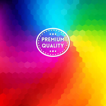 Colorful background with rainbow waves with mosaic texture. Premium quality label Vector