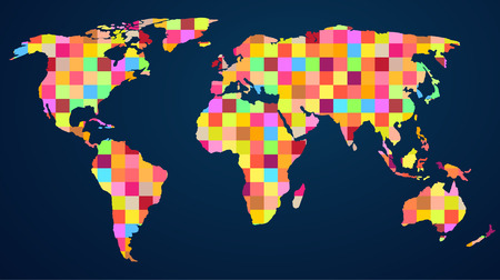 Colorful rainbow map with mosaic geometric background for your web design Vector