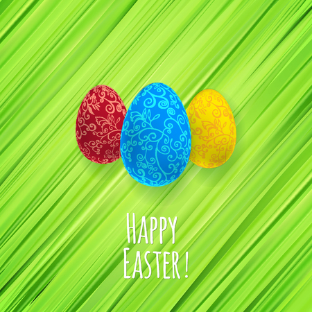 religion  herb: Easter green herb background with ornament eggs Happy Easter.  Illustration