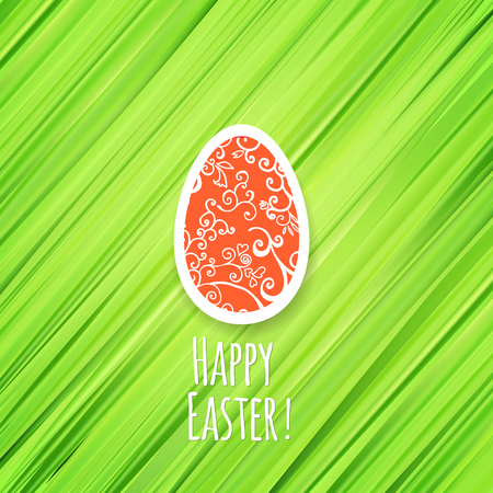 religion  herb: Easter green herb background with red ornament egg Happy Easter.