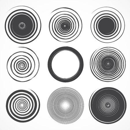 vynil: black set of grunge circle brush strokes  Illustration