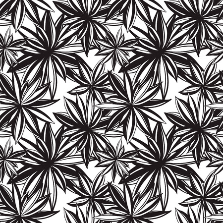 Black and white floral background,  abstract texture, Vector