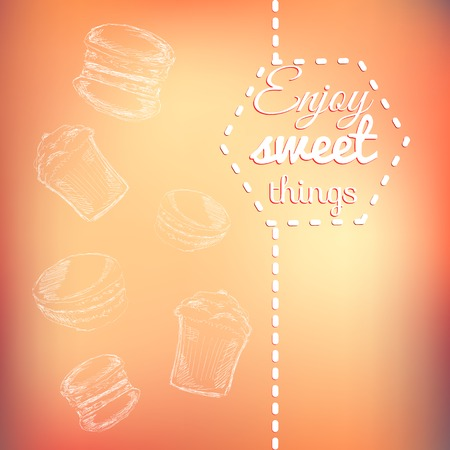tea rose: Macarons sweets background card. Enjoy sweet things